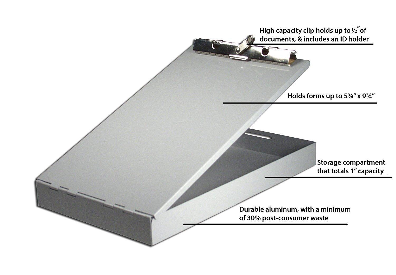 /Form Halterung mit 2,5/cm Ablagefach Office Supplies Saunders Aluminium Redi Rite Stauraum Klemmbrett/ Self Locking Verriegelung