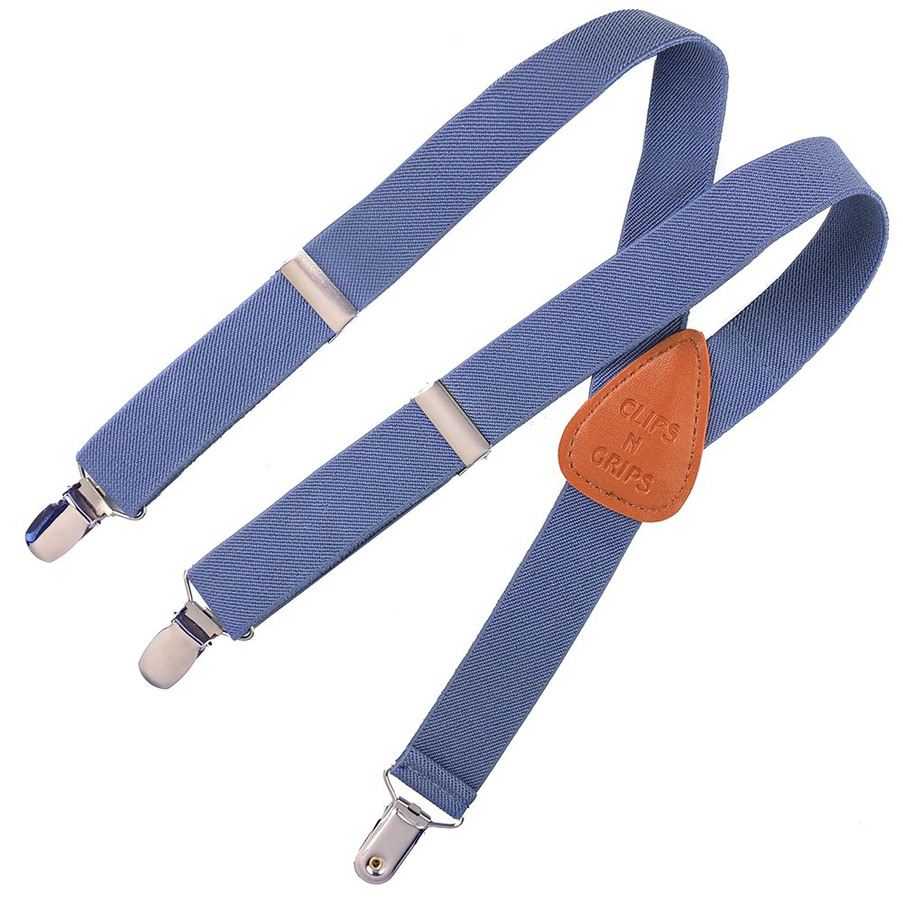 Clips N Grips® Child Baby Toddler Adjustable Elastic Solid Color Y Back Suspenders CNGsuspdenim30