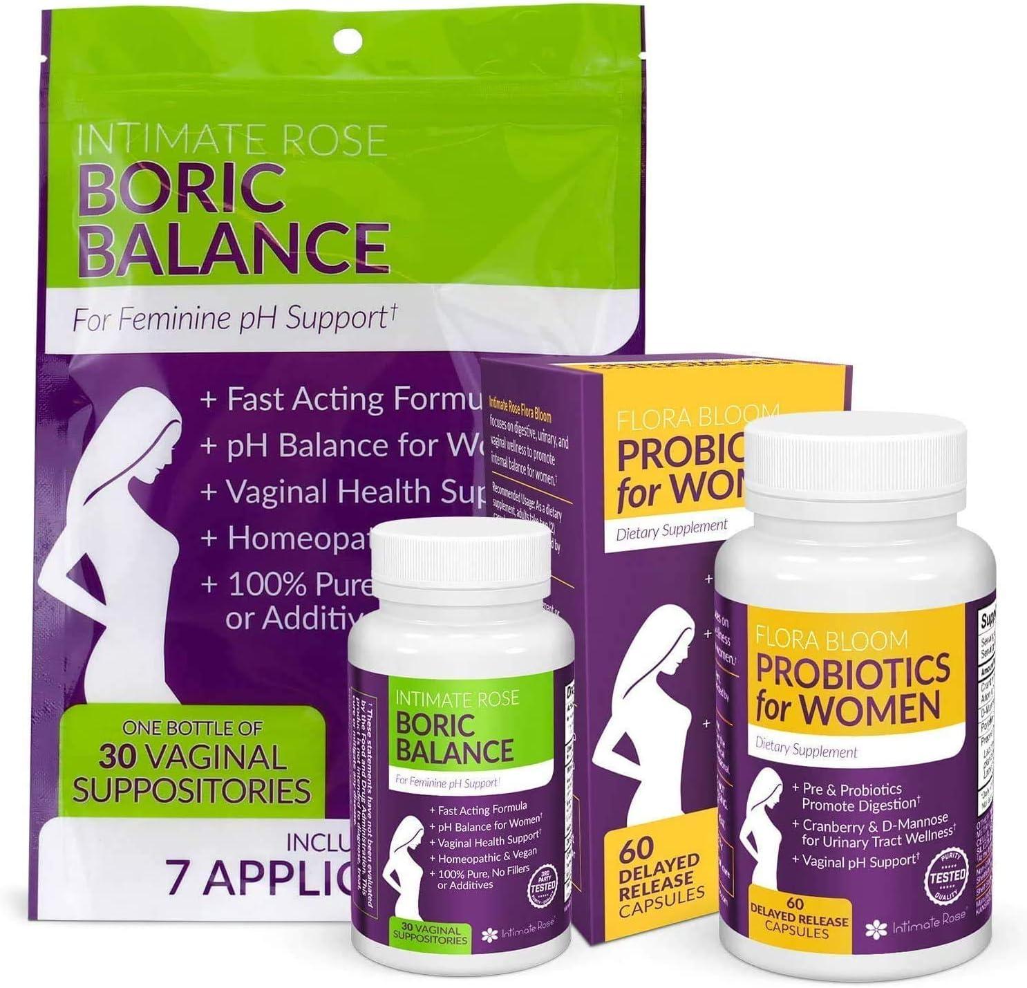 Healthy Vaginal Odor Probiotic and Boric Acid Suppositories Bundle