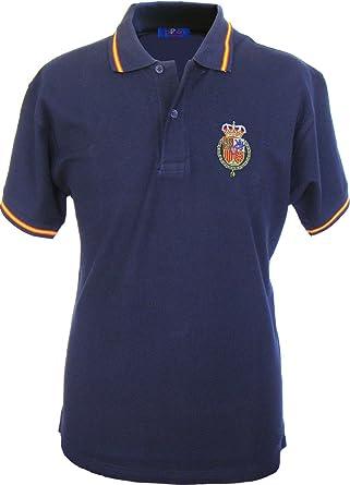 Pi2010 - Polo España Marino Hombre, Bordado Felipe Vi en Pecho, Bandera España en Cuello y Mangas, 100% algodón: Amazon.es: Ropa y accesorios