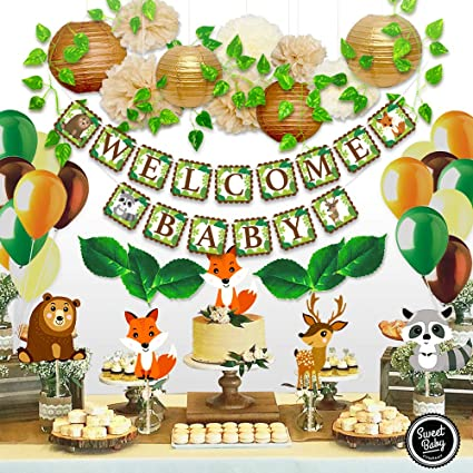 Amazon Com Sweet Baby Co Woodland Baby Shower Decorations Animals Theme Neutral Party Supplies For Boy Or Girl With Welcome Banner Forest Fox Animal Creatures Greenery For Garland Lanterns Pom Pom Balloons Toys