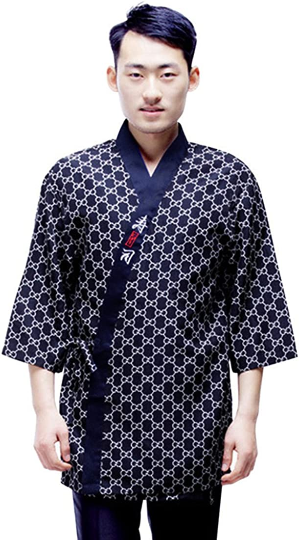 Jiyaru Unisex Sushi Chef Jacket Japanese Kitchen Uniform Sushi Workwear Coat