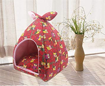 Vivian Inc Cat Houses & Condos - Cat Nest Small Dog House Puppy Design Cartoon Owl Foldable Soft Warm Sleeping Bag Four Season Universal Accessories for Dog ...