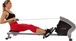 Sunny Health & Fitness Compact Folding Magnetic Rowing Machine with LCD Monitor, Tablet Holder, 40 Inch Inseam, 285 LB Max Weight - Synergy Power Motion - SF-RW5801