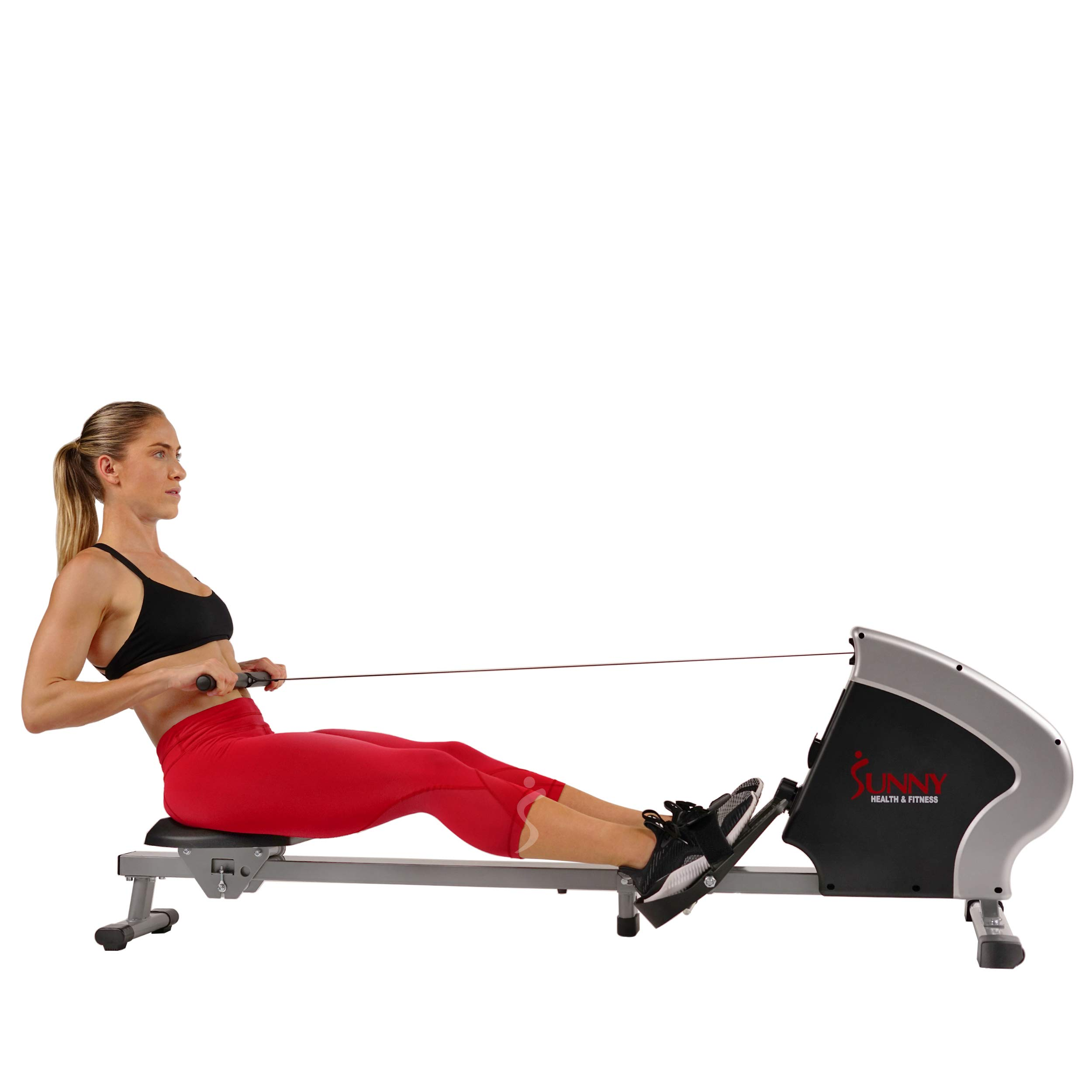 Sunny Health & Fitness Compact Folding Magnetic Rowing Machine Rower, LCD Monitor with Tablet Holder - Synergy Power Motion - SF-RW5801