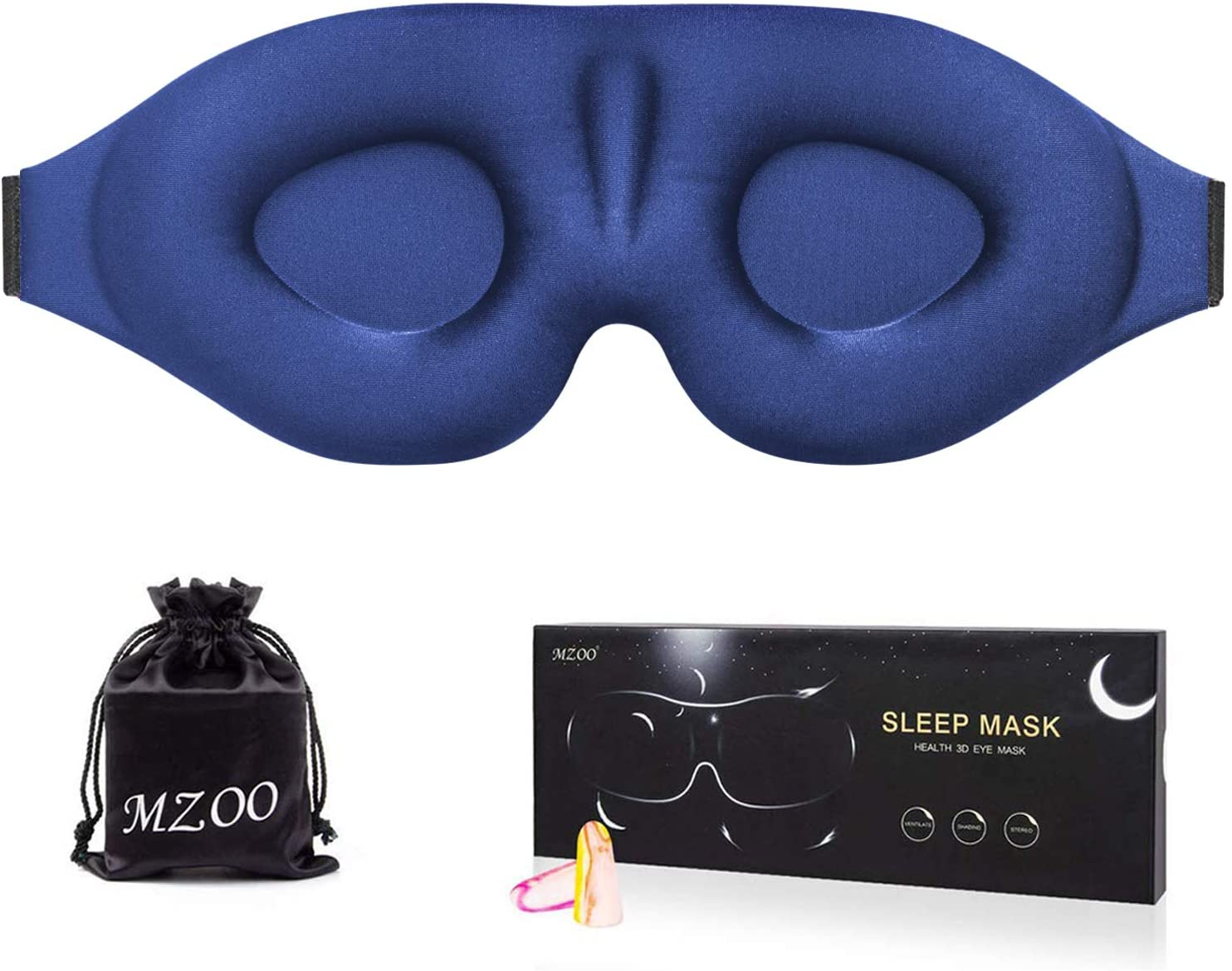 Amazon.com: MZOO Sleep Eye Mask for Men Women, 3D Contoured Cup Sleeping  Mask & Blindfold, Concave Molded Night Sleep Mask, Block Out Light, Soft  Comfort Eye Shade Cover for Travel Yoga Nap,