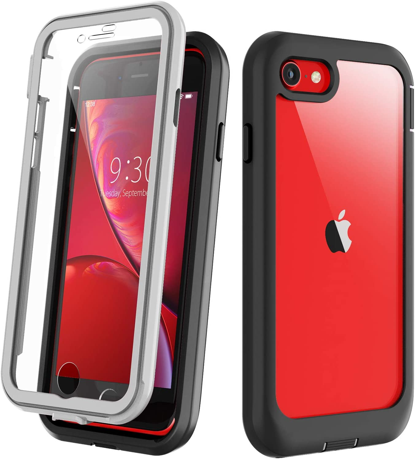 Eonfine for iPhone SE 2020 Case/iPhone 7/8 Case, Full-Body with Built-in Screen Protector Rugged Clear Shockproof Case for iPhone 7/8/iPhone SE 2nd Generation 4.7inch (Black/Clear)