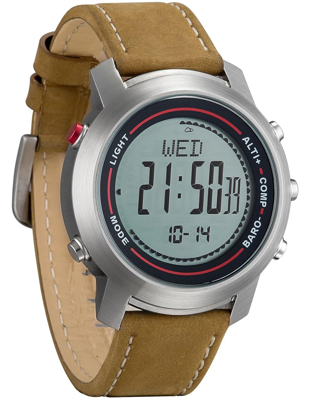 Spovan Herren Outdoor Altimeter Barometer Thermometer Chronograph Stoppuhr Uhren Lederarmband
