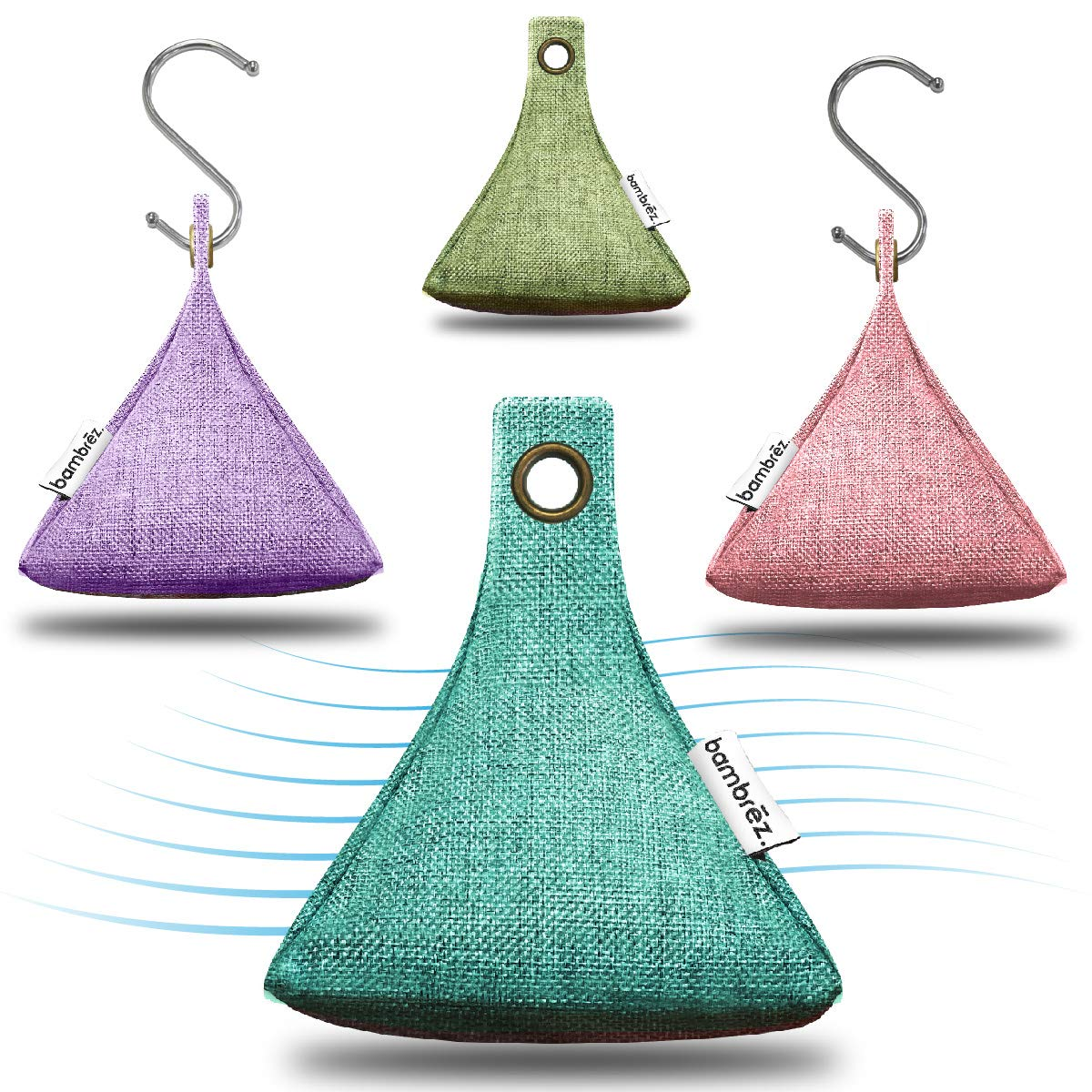 Bambrez Activated Moso Bamboo Charcoal air purifier hanging hook bags natural freshener odor deodorizer cleaner for car home kitchen bath baby pet mold toxins 4 x 200 Gram 4 Pack - Summer Collection Weefab