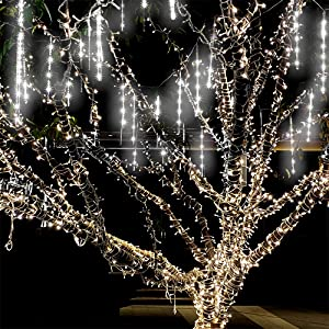 Meteor Shower Lights Waterproof 11.8 inch 8 Tube 192 LEDs,Icicle Snow Fall String Cascading Lights, Falling Rain Lights , Christmas Lights for Holiday Party Wedding, Garden Decoration(White)