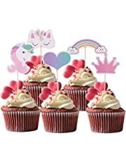 Baoblaze 24pcs Rainbow Unicorn Cake Toppers Kids Birthday Supplies Home Table Decoration