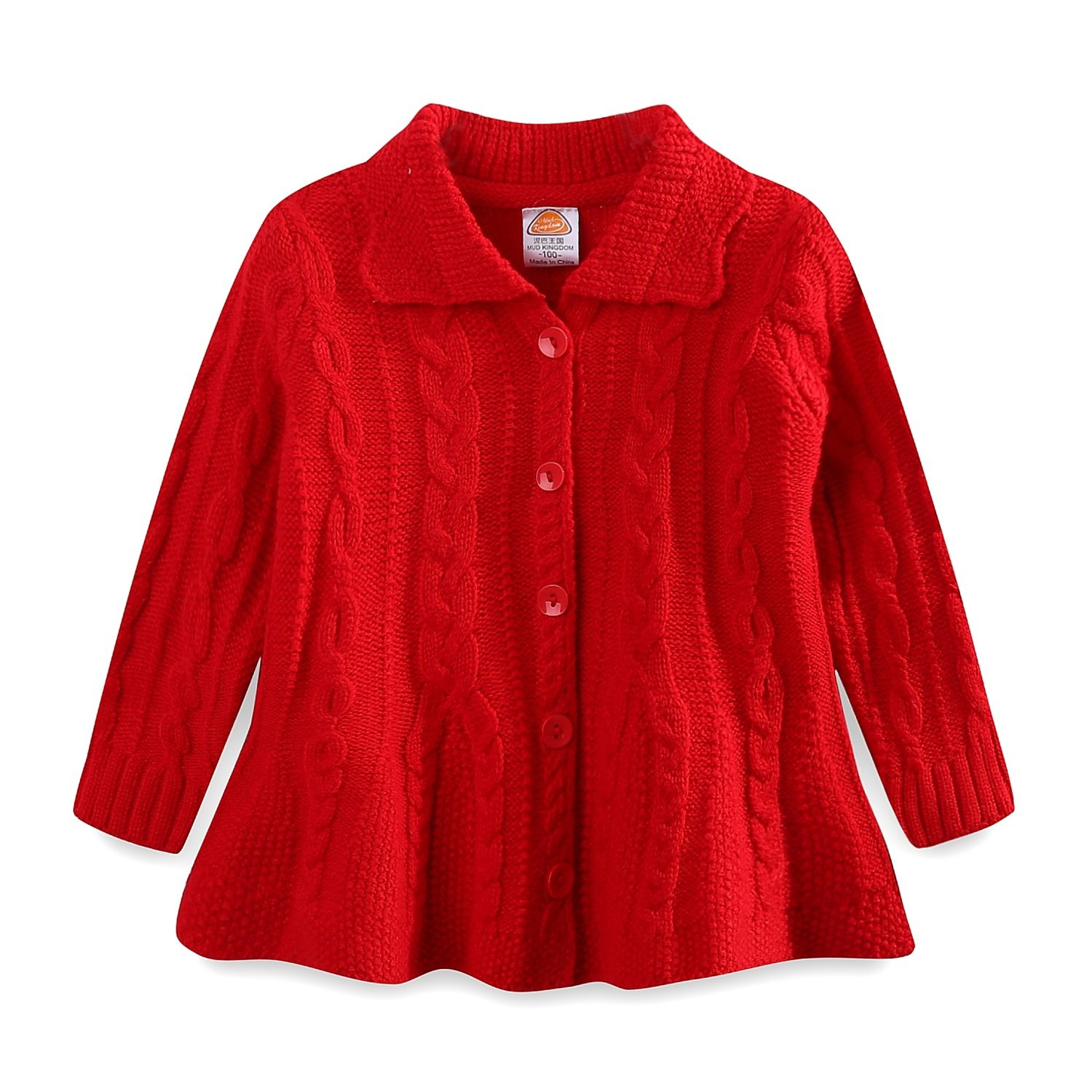 UWESPRING Little Girls Knit Dress Coat Ribbed Wool Sweaters Cardigan XL Red