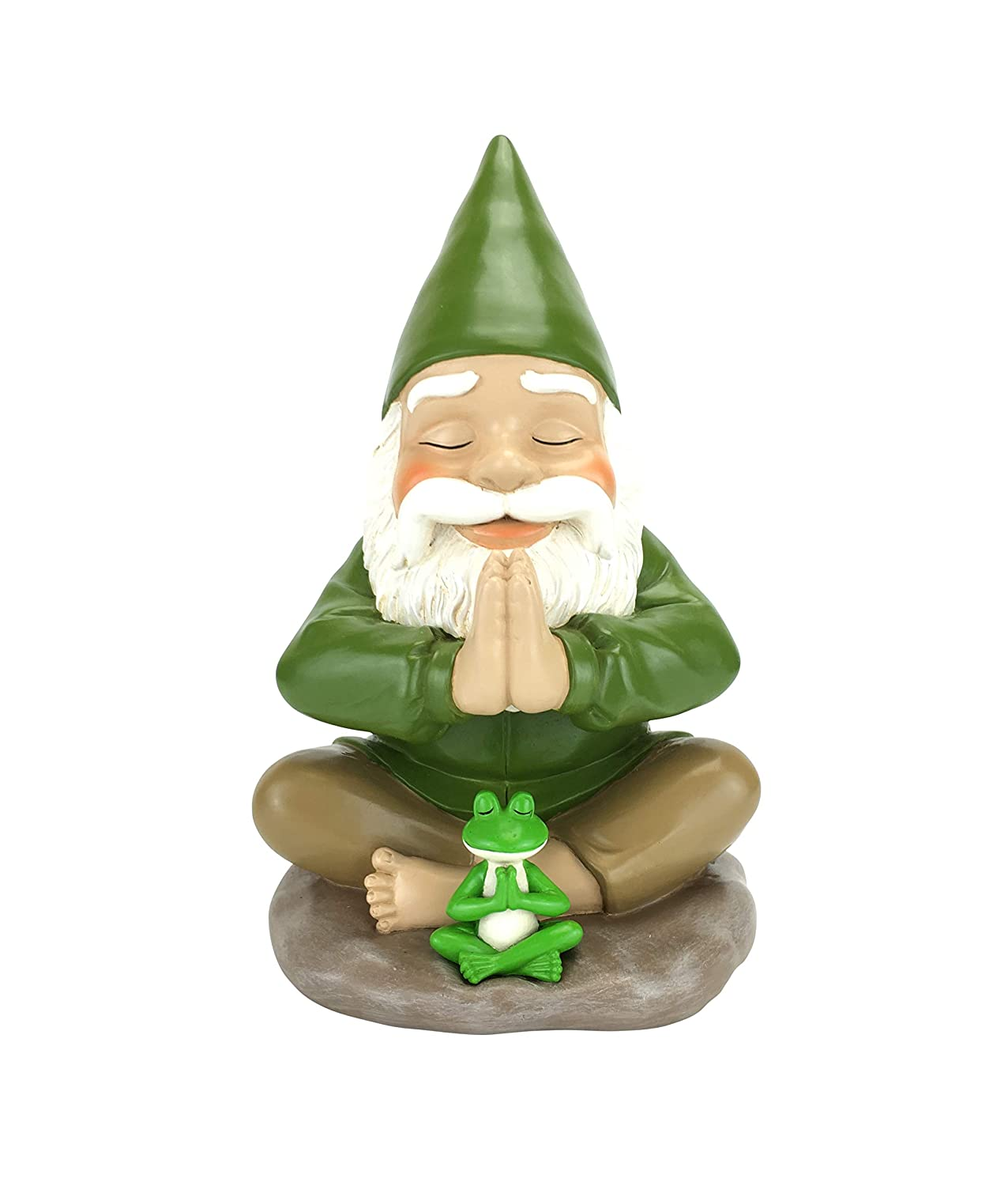 GlitZGlam Zen Gnome and Zen Frog - Namaste– Tranquility and Peacefulness for Your Fairy Garden and Garden Gnomes A Large 9¼ Inches Tall Miniature Gnome Figurine