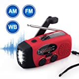 Emergency Radio NOAA Weather Radio Hand Crank AM/FM Portable Radio with Self Powered Solar and 3 LEDS Flashlight 1000mAh Power Bank Phone Charger (RED)