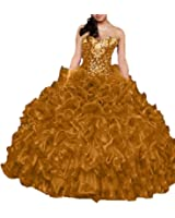 Zhu Li Ya Women's Organza Beaded Crystal Ball Gown Prom Quinceanera Dresses