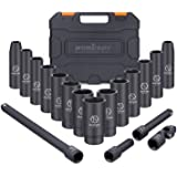 HORUSDY 1/2-Inch Drive Deep Impact Socket Set, 6 Point, 18-Piece 3/8-1-1/4 inch Drive Impact Sockets Set