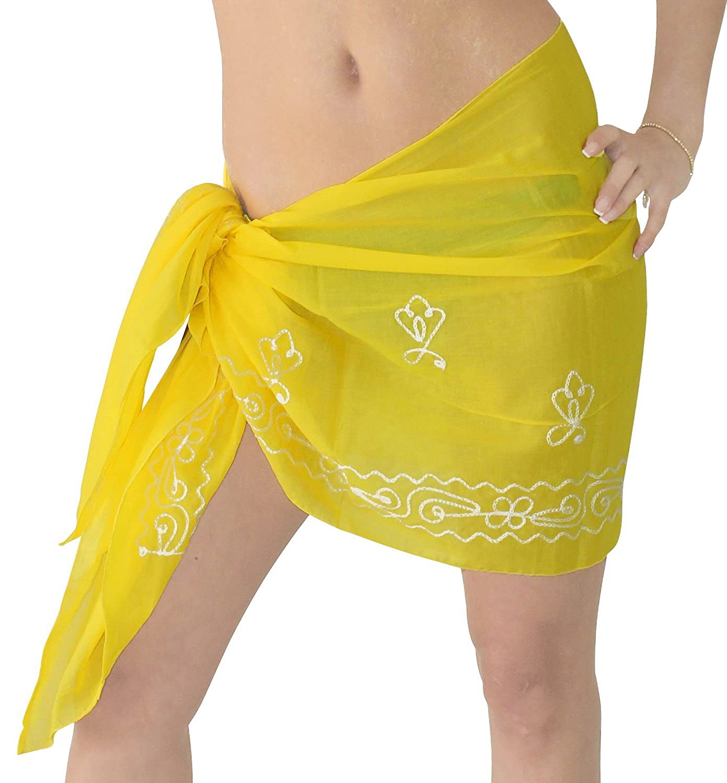 LA LEELA Women Beachwear Mini Sarong Bikini Cover up Wrap Dress Solid 7 Half Sarong Rayon club 1