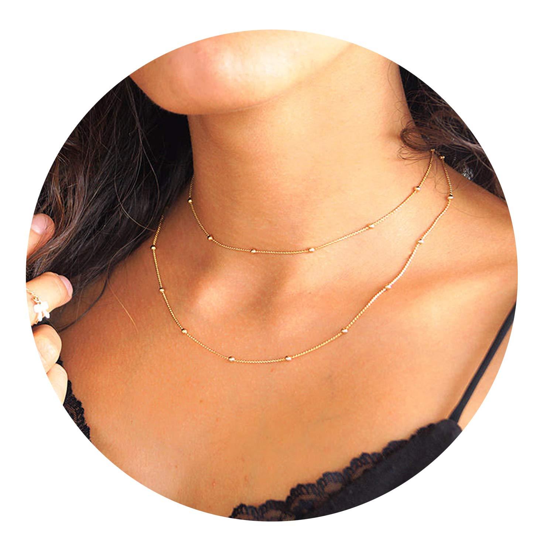 Fettero Dainty Layered Gold Choker Necklace,14K Gold Fill Satellite Chain Jewelry (NK5-5)