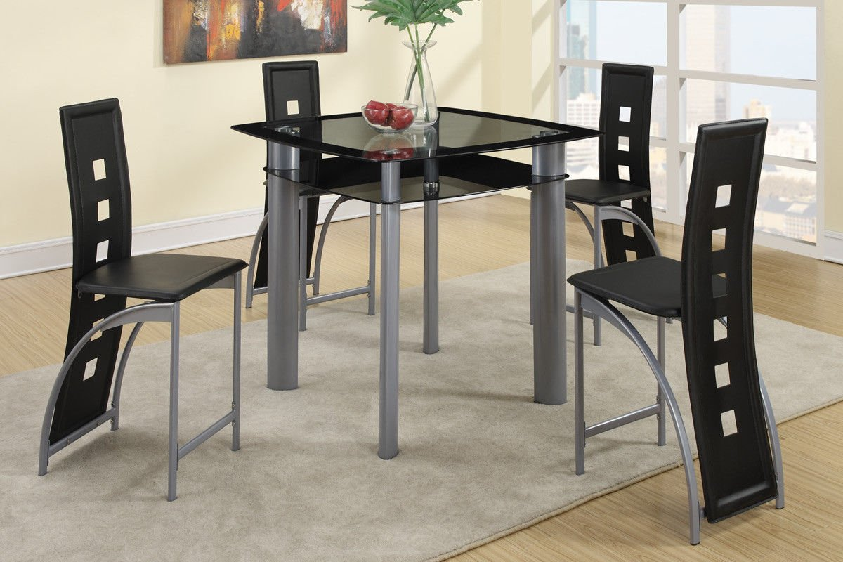 Amazon.com   Poundex F2224 U0026 F1222 Black Painted Glass U0026 Leatherette Chairs  Counter Dining Set   Table U0026 Chair Sets