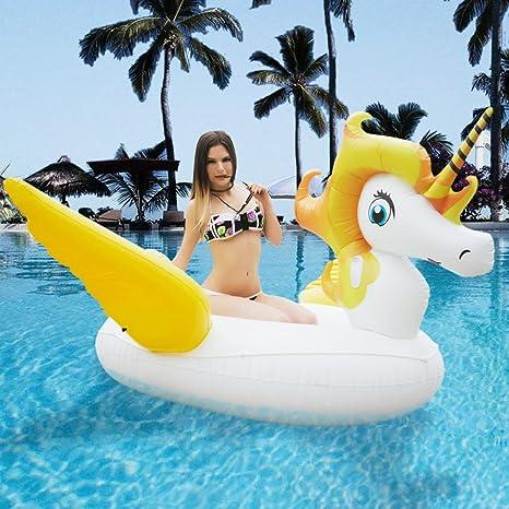 Flotador gigante con diseño de unicornio con alas, colchoneta hinchable de piscina, con asas