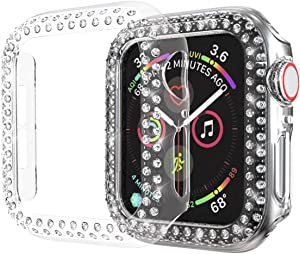 Greaciary Sparkle Compatible with Apple Watch 38mm 40mm 42mm 44mm,Compatible with iWatch Face Bling Crystal Diamond Plate Cover Protective Frame for Apple Watch 5/43/2/1 Women (Clear, 44mm)