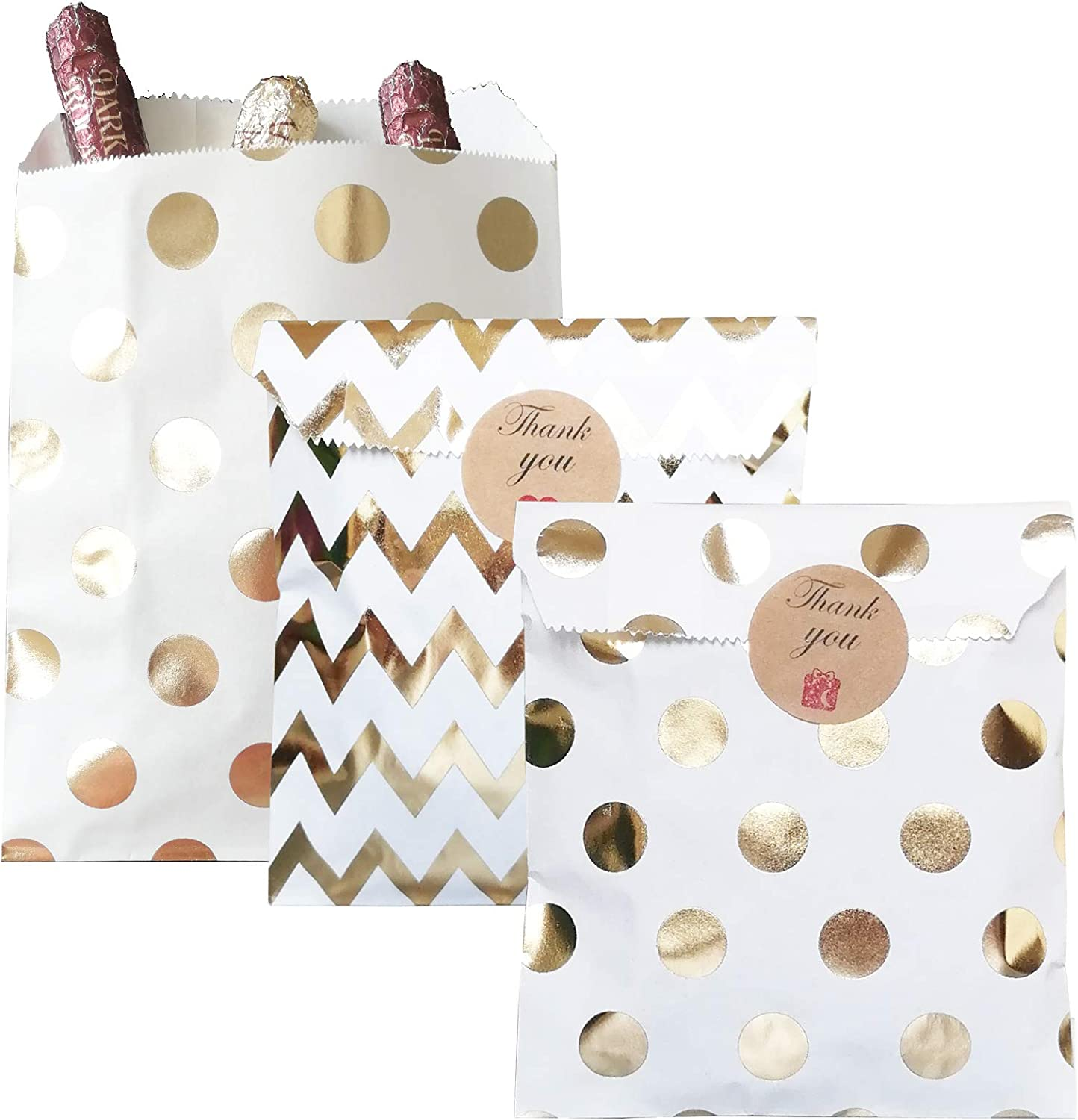Party favor bag 5*7 inch, 50 pcs Food Safe Kraft Paper, Natural (Biodegradable), Vivid Colored Candy Cookie Buffet Bags,flat bag with 48 1.5 inch stickers.(chevron and Polka dot patterns, Gold foil)