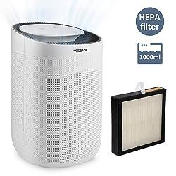 YISSVIC Déshumidificateur d'Air 1000ml avec Filtre HEPA Retire 750ml par Jour Déshumidificateur Ultra Silencieux pour Salle de Bain Chambre Cuisine et Bureau