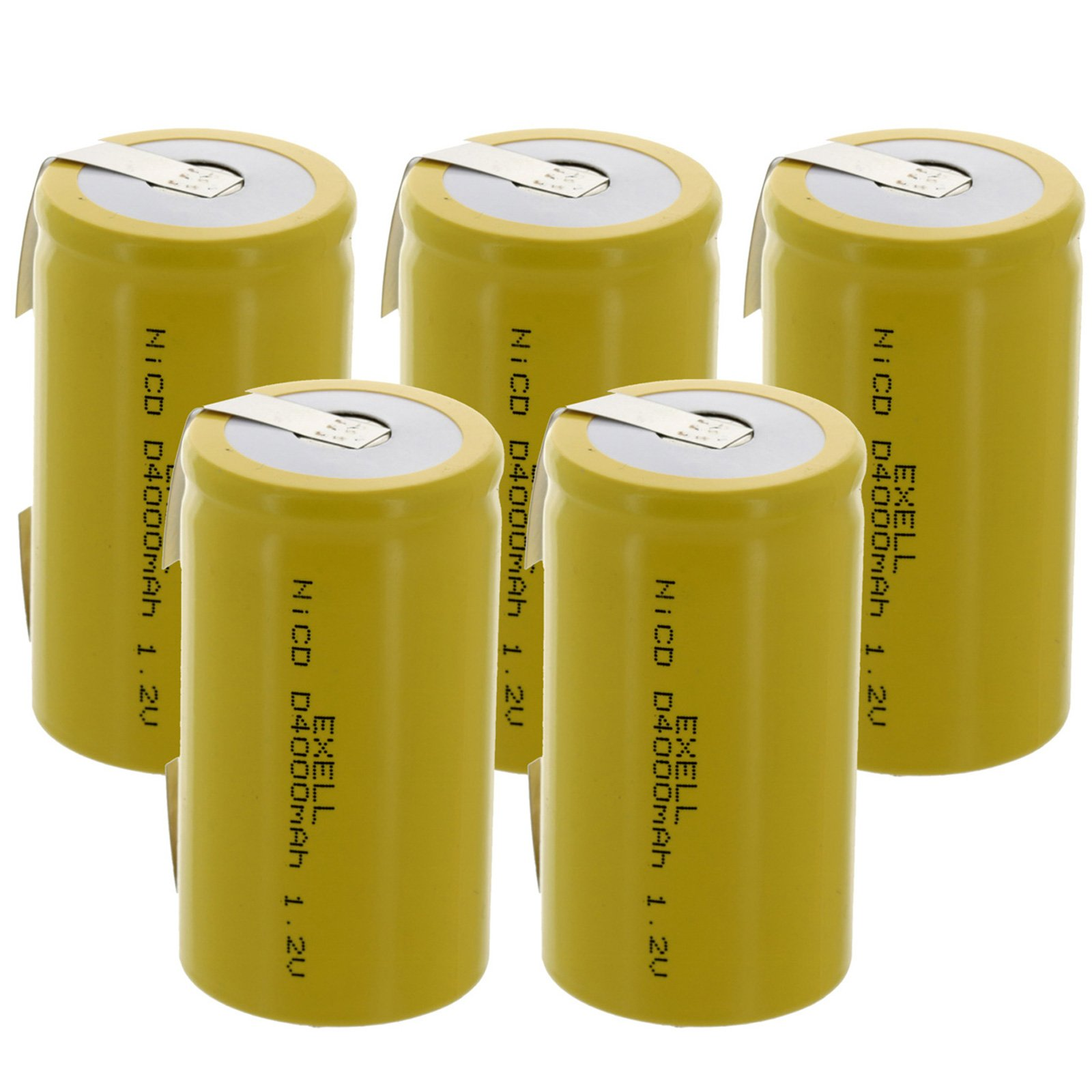 5x Exell D Size 1.2V 4000mAh NiCD Rechargeable Batteries with Tabs for high power static applications (Telecoms, UPS and Smart grid), electric mopeds, meters, radios, RC devices, electric tools