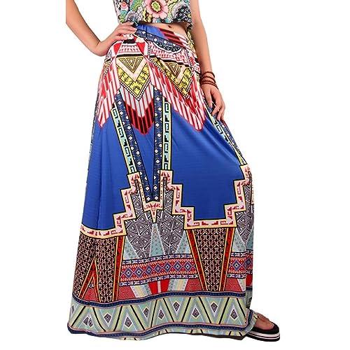 Vovotrade Las mujeres tribales de impresión floral de la falda maxi