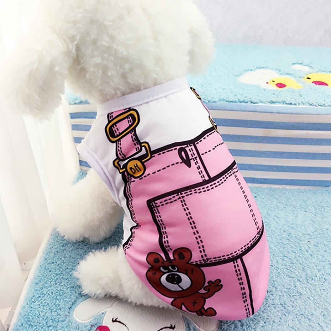 SunGren Chaleco de perro, ropa de mascota falsa de verano Ropa para perros de mascota Camisa de chaleco de gato cachorro Chaqueta falsa chaleco Tops(M ...