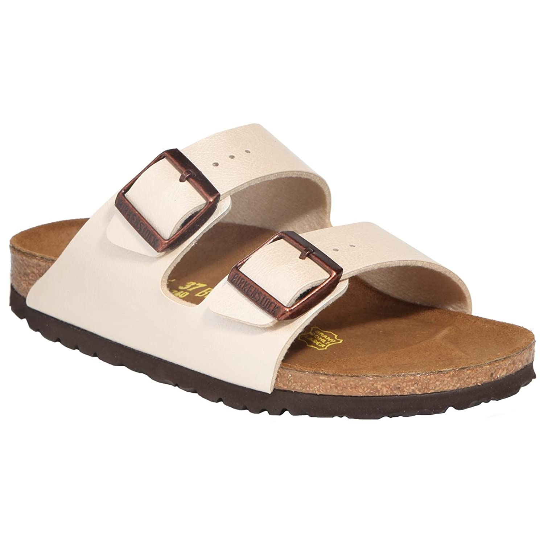 Birkenstock Womens Arizona Birko-Flor Sandals 40 EU Graceful Pearl White