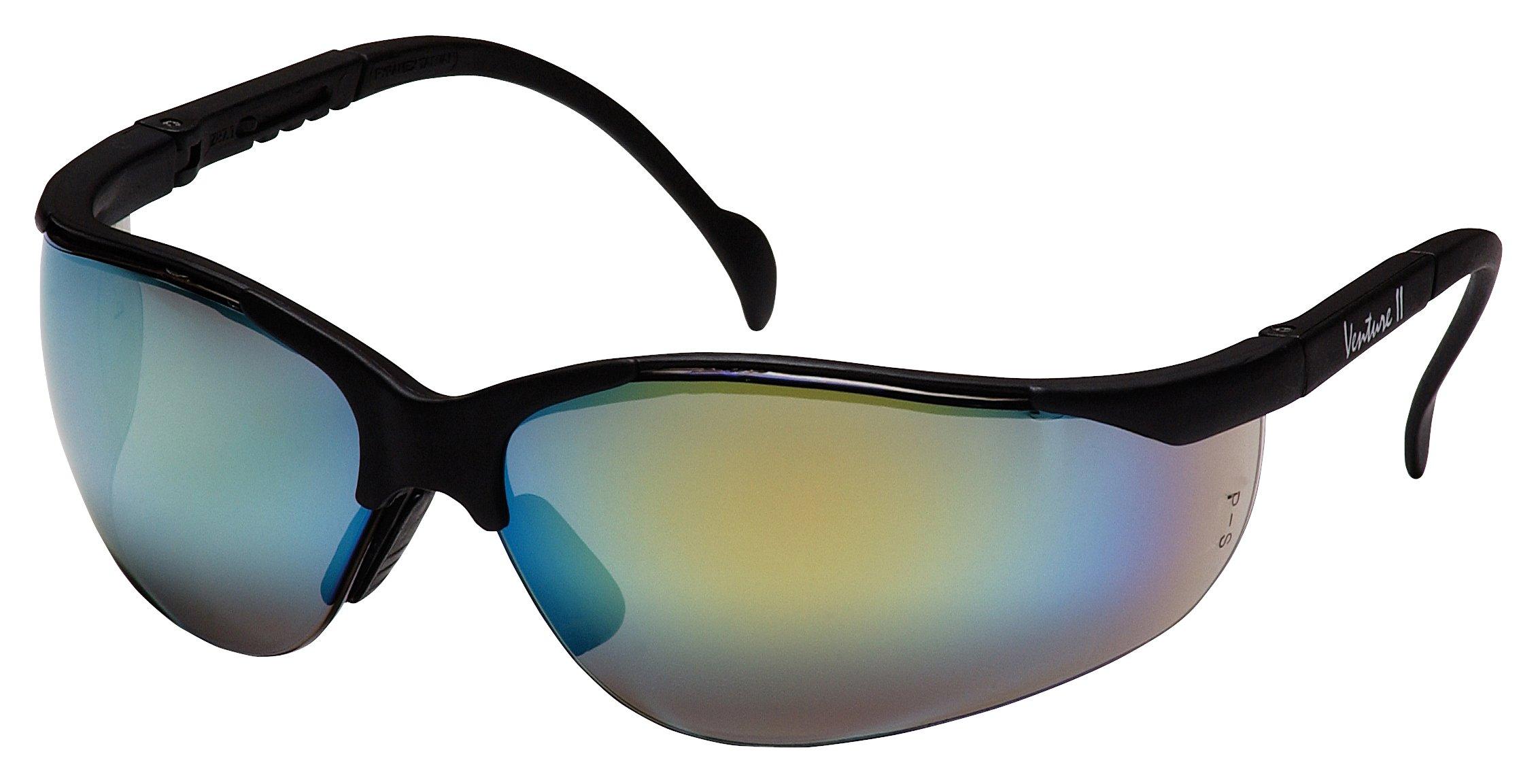 Pyramex Venture Ii Safety Eyewear, Gold Mirror Lens With Black Frame