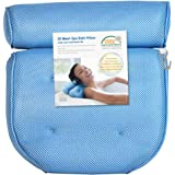CoastaCloud Breathable 3D Mesh Spa Bath Pillow with 4 Suction Cups, Neck & Back Support - Home Hot Tub Jacuzzi Spa Pillow - Blue