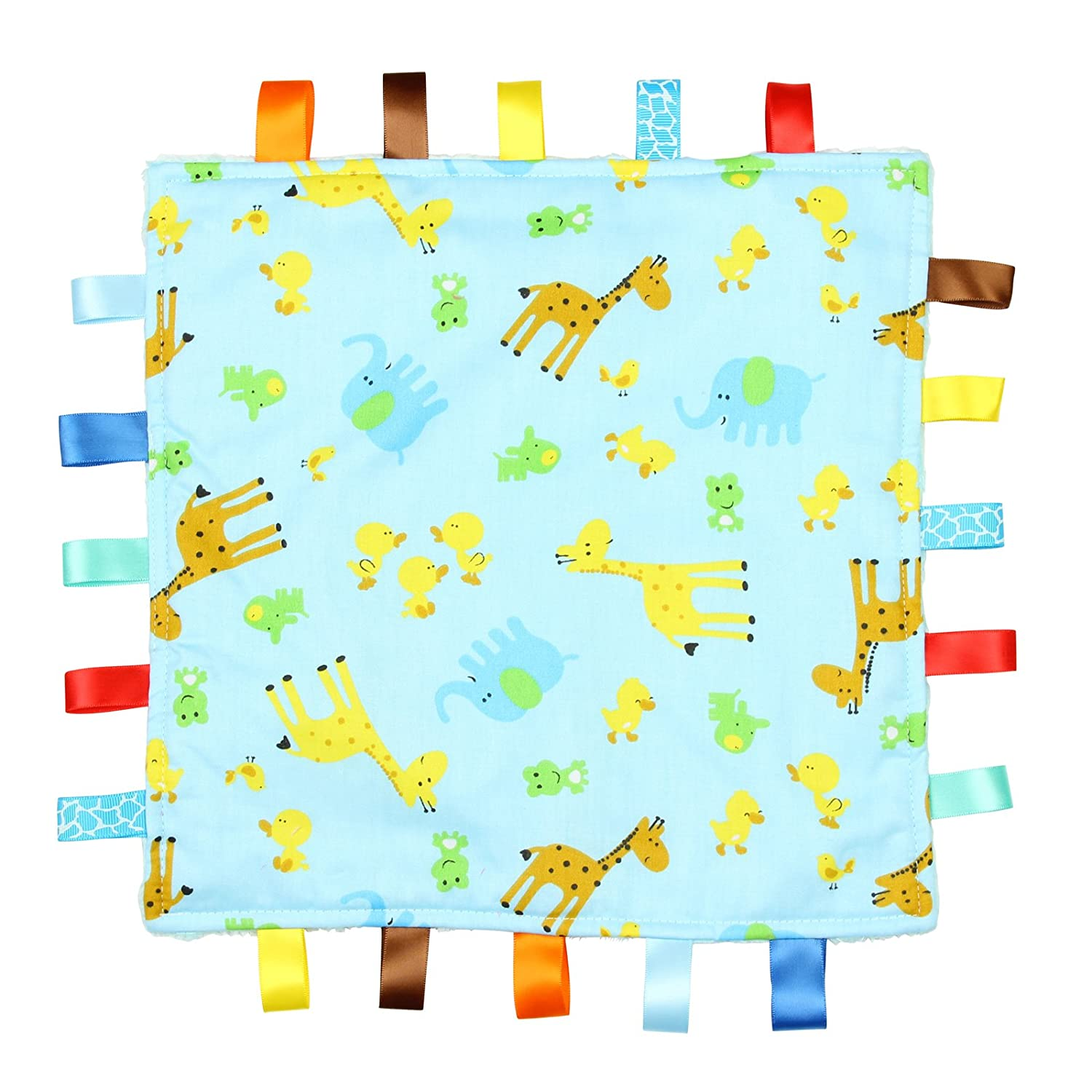 Blue Baby Tag, Taggy Blanket - Blue with Giraffe, Elephant and Chick Animal Tag, Taggy Blanket - Plain Blue Textured Underside For the Love of Leisure