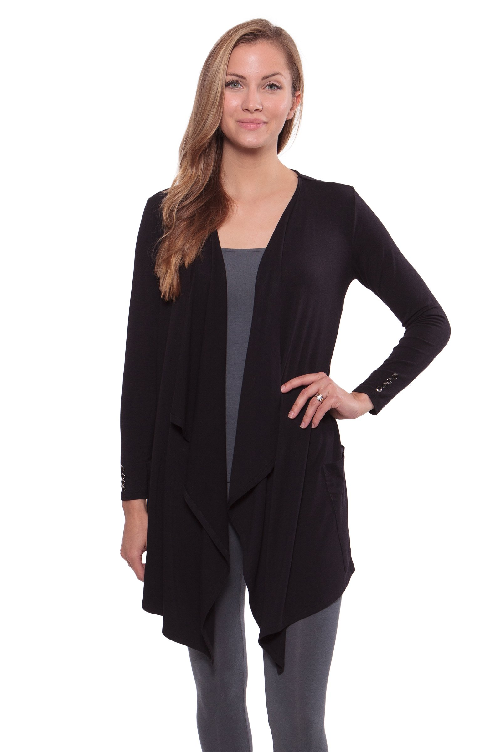Women's Long Sleeve Draped Cardigan - Stylish Apparel by Texere (Caireen, Black Meteorite, X-Large) Unique Gifts for Women's Birthday WB1002-BMT-XL
