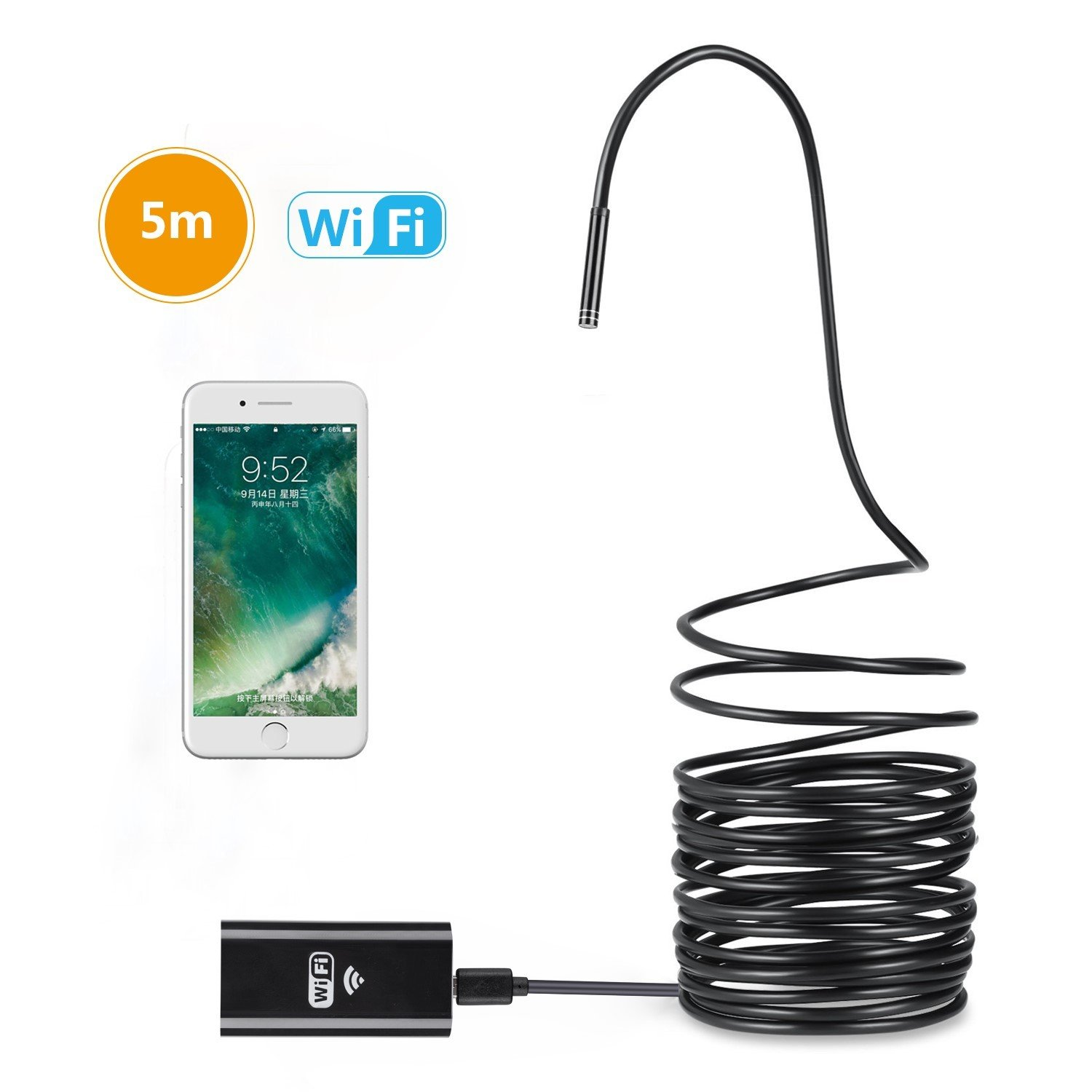 BestTrendy Endoscope Camera, de 5M Endoscope WiFi HD 720P Câ ble Semi Rigide, d'Inspection Camé ra Etanche avec 8 LED Compatible avec iOS/Android/iPad/Mac/PC/Laptop de 5M Endoscope WiFi HD 720P Câble Semi Rigide