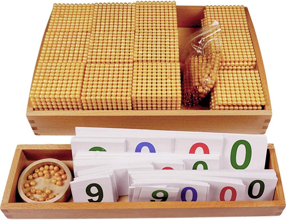 Wumudidi Montessori Golden Bead Material, Madera Matemáticas Ayudas para la enseñanza Sistema Decimal Banco Materiales del Juego Bebé Educación Preescolar Juguetes,Reduced Version
