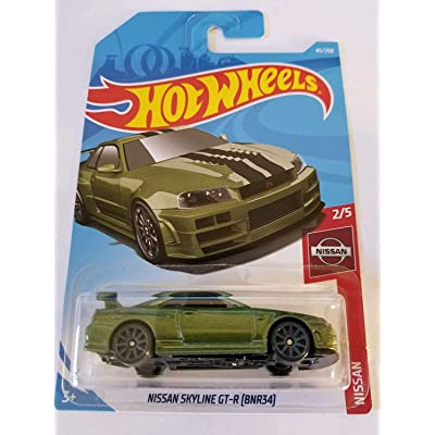 Hot Wheels 2020 Nissan Series Nissan Skyline GT-R (BNR34) 45/250, Metallic Green: Toys & Games