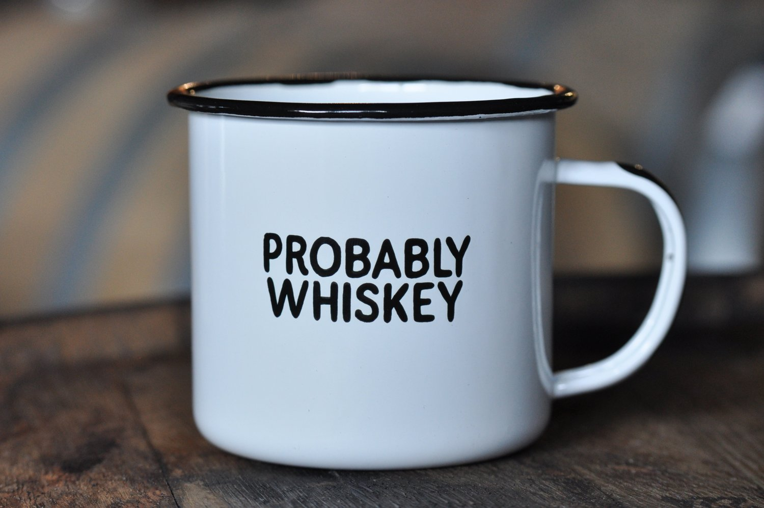 PROBABLY WHISKEY | Enamel''Coffee'' Mug | Funny Bar Gift for Whiskey, Bourbon, and Scotch Lovers, Dads, Moms, Fathers, Men, Whisky Geeks | Practical Cup for Kitchen, Campfire, Home, and Travel