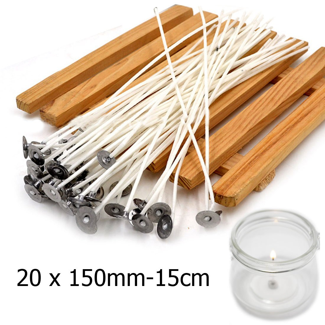 JJOnlineStore - Long Pre Waxed White Cotton Core Candle Wicks Making with Sustainers (20, 15cm/5.9