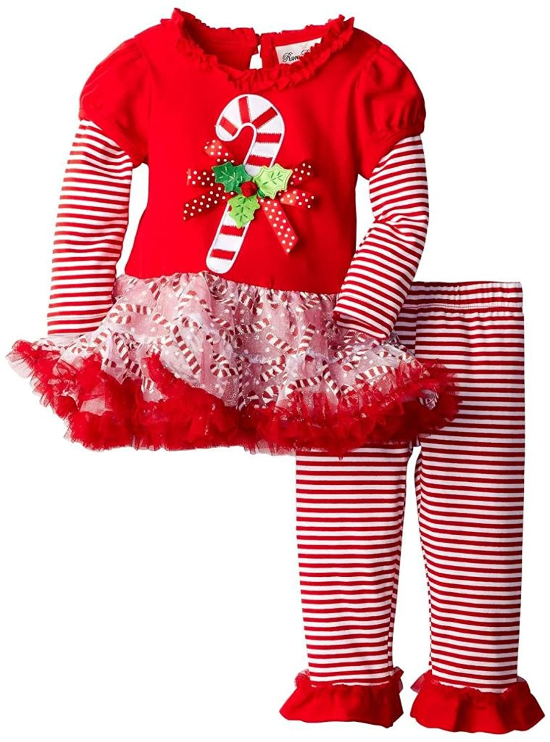 Amazon.com: Rare Editions Girls Candy Cane Holiday Dress Outfit ...