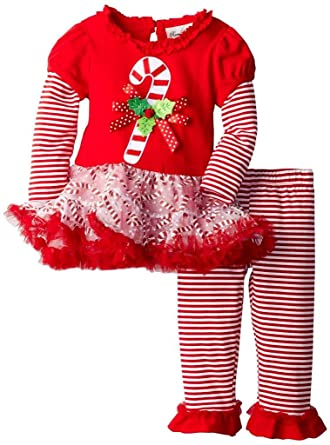 c1b153411043f Amazon.com  Rare Editions Girls Candy Cane Holiday Dress Outfit ...