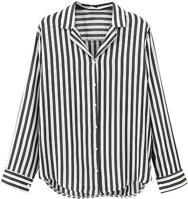 Camisa de Oficina Mujer, Covermason Las señoras de Las Mujeres a Rayas de Manga Larga abotonan la Blusa de la Oficina del Trabajo Camiseta: Amazon.es: Ropa y accesorios