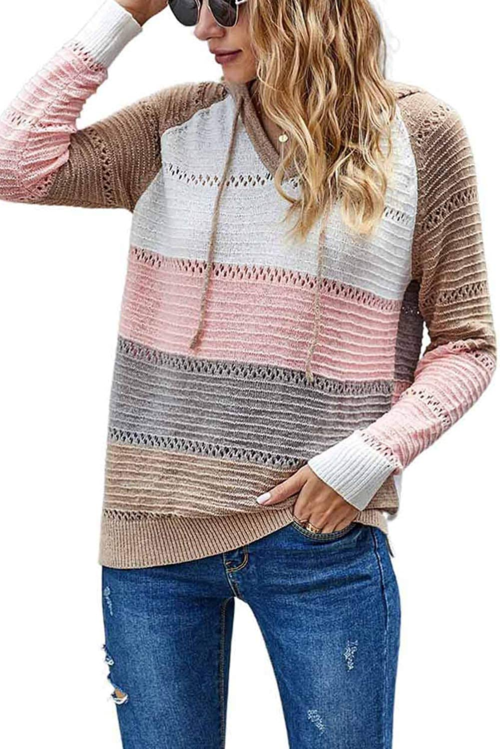 GOLDPKF Striped Color Block Hoodies for Womens Long Sleeve Pullover Sweatshirts