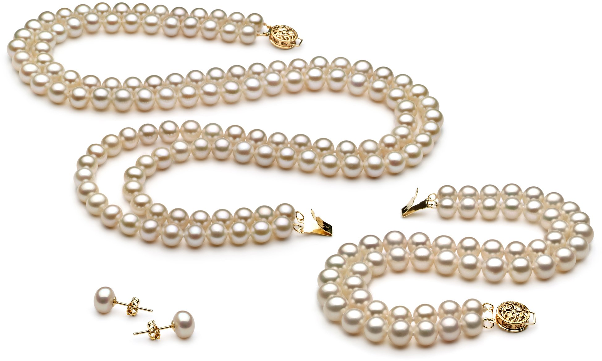 PearlsOnly - Liska White 6-7mm Double Strand AA Quality Freshwater Cultured Pearl Set-18 in Princess length