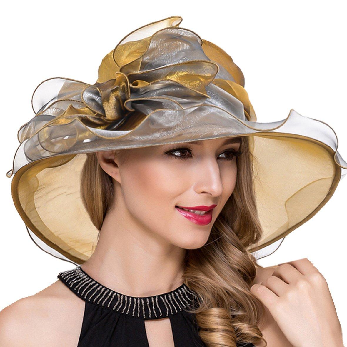S039byellow Women Derby Church Dress Wide Brim Ruffles Tea Party Organza Hats S042b