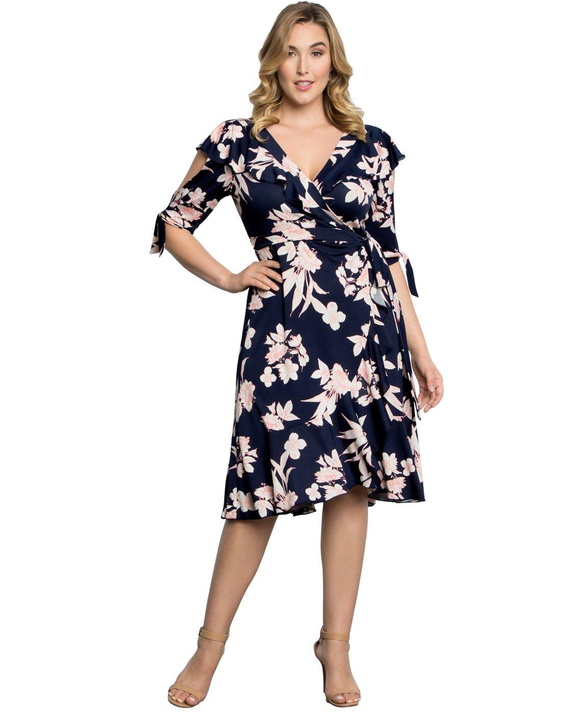 Kiyonna Womens Plus Size Winnie Wrap Dress 3x Navyblush Print