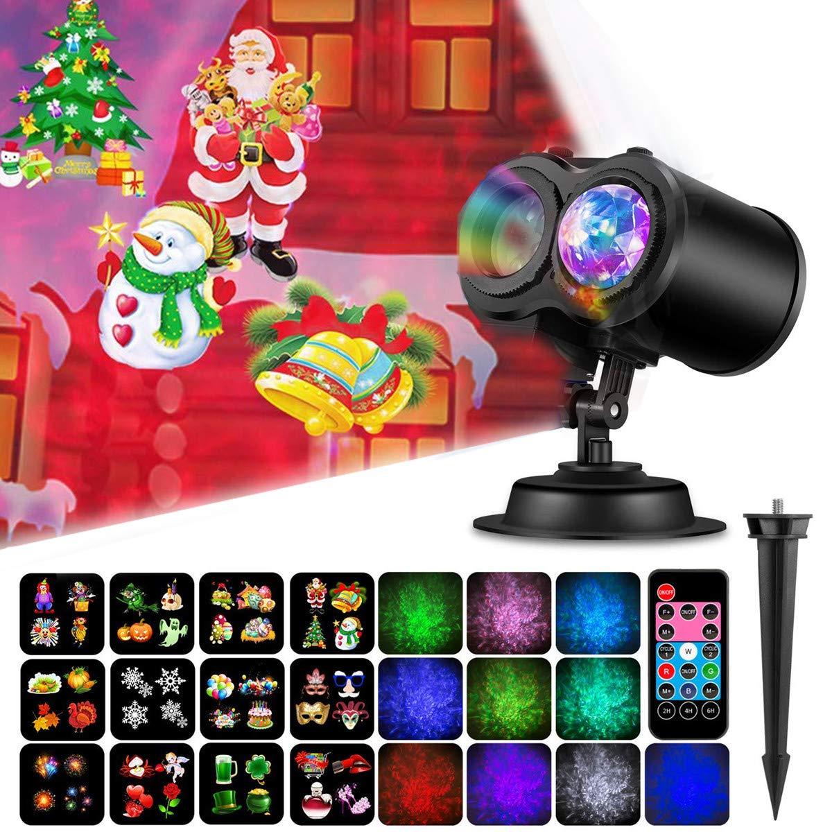 Gohyo Projector Lights for Halloween Christmas Decoration 2 in 1 Ocean Wave Remote Control Waterproof Outdoor Indoor Landscape Lighting