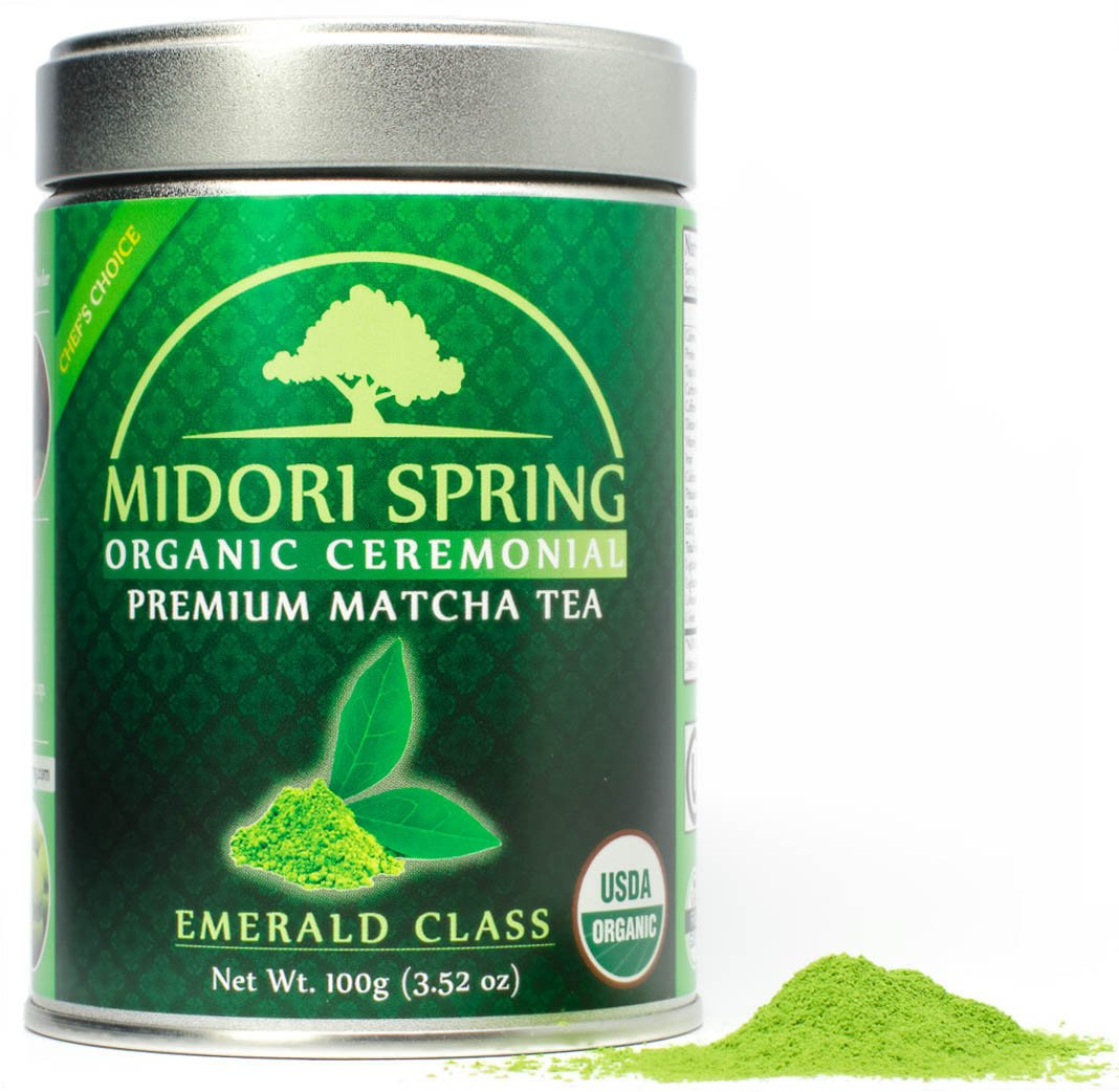 Organic Ceremonial Matcha (Emerald Class 100g) Chef's Choice Quality Japanese Matcha Powder For Beverages, Baking and Beginner Brew, Kosher, Vegan, USDA by Midori Spring