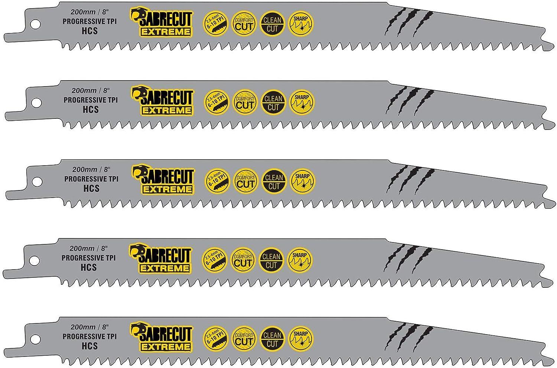 SabreCut SCRS2345X_5 - Juego de 5 hojas de sierra de sable para madera (200 mm, 6-10 TPI S2345X, muy rápidas, para Bosch Dewalt Makita y muchos otros): Amazon.es: Bricolaje y herramientas